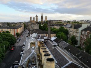 View from the roof top Glasgow.